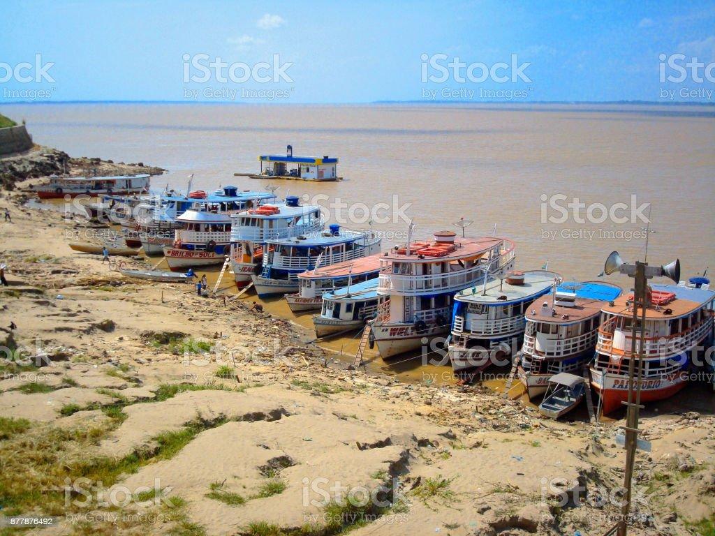 Amazon river bus stock photo