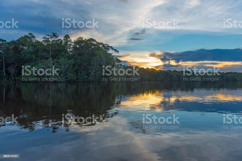 Reflexo do sol de Rio Amazonas - foto de acervo