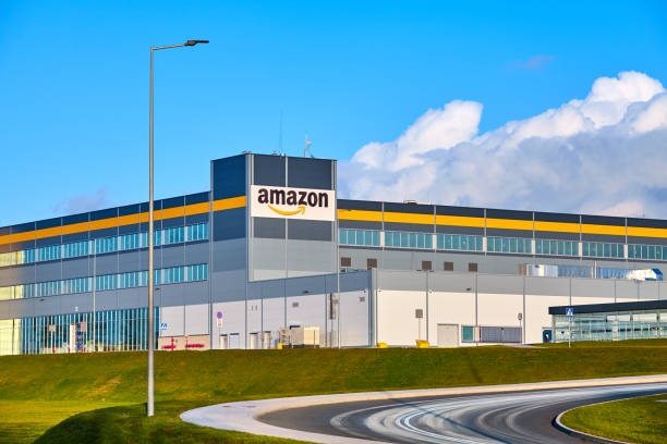 Amazon Robotics e-commerce center in Kolbaskowo is among the largest structure of this kind in Poland and Europe. stock photo