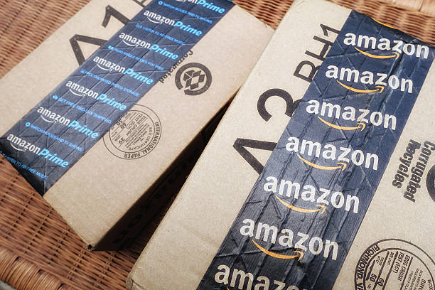 Amazon shipping packages stock photo
