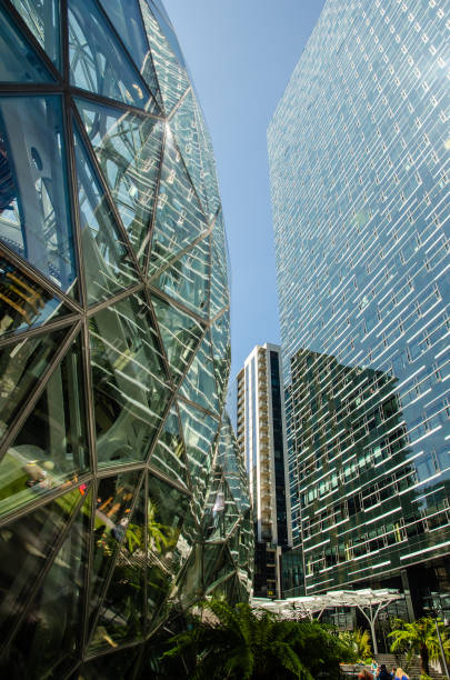 Amazon Spheres & Day 1 Building in Seattle stock photo