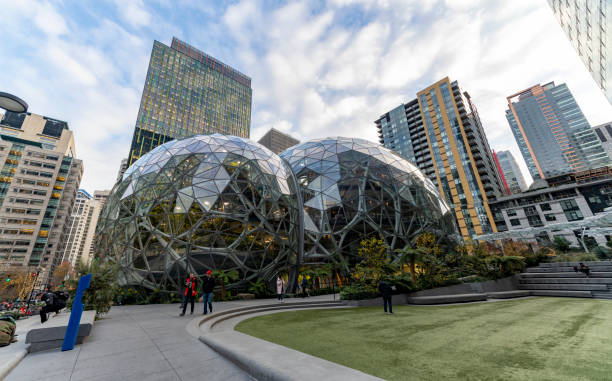 Amazon Spheres Famous Architecture at the World Headquarters stock photo