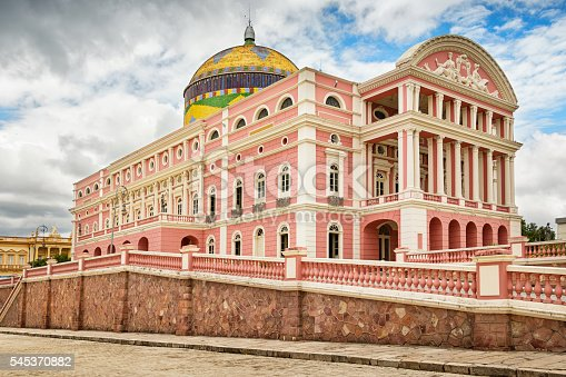 Photo of the landmark, state owned Amazon Theatre (Teatro Amazonas), an opera house located in Manaus, in the heart of the Amazon rainforest in Brazil, in the state of Amazonas.  Finished in 1896.