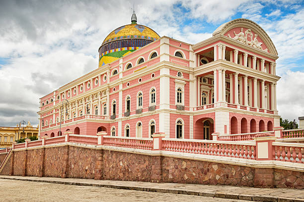 Amazon Theatre in Manaus Brazil Photo of the landmark, state owned Amazon Theatre (Teatro Amazonas), an opera house located in Manaus, in the heart of the Amazon rainforest in Brazil, in the state of Amazonas.  Finished in 1896. manaus stock pictures, royalty-free photos & images