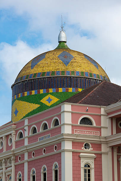 Amazon Theatre with blue sky, opera house in Manaus, Brazil Details of the Amazon Theatre (Portuguese: Teatro Amazonas) with blue cloudy sky, opera house located in Manaus, Amazonas Brazil 2015 manaus stock pictures, royalty-free photos & images
