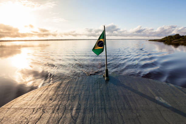 Amazonas , Brazil. View of the backside of a traditional boat with flag of Brazil in the Negro River during the flood season and the Amazon rainforest in the background at the sunset. Boat trips through the Amazonian rivers can last for several days. rio negro brazil stock pictures, royalty-free photos & images