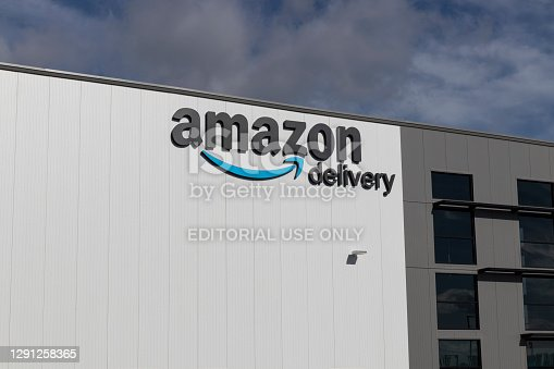 Greenfield - Circa December 2020: Amazon.com Fulfillment Center. Amazon is the Largest Internet-Based Retailer in the US and celebrates Prime Day.