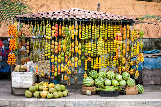 Amazonic traditional fruits on road shop Amazonic traditional fruits on road shop theobroma stock pictures, royalty-free photos & images