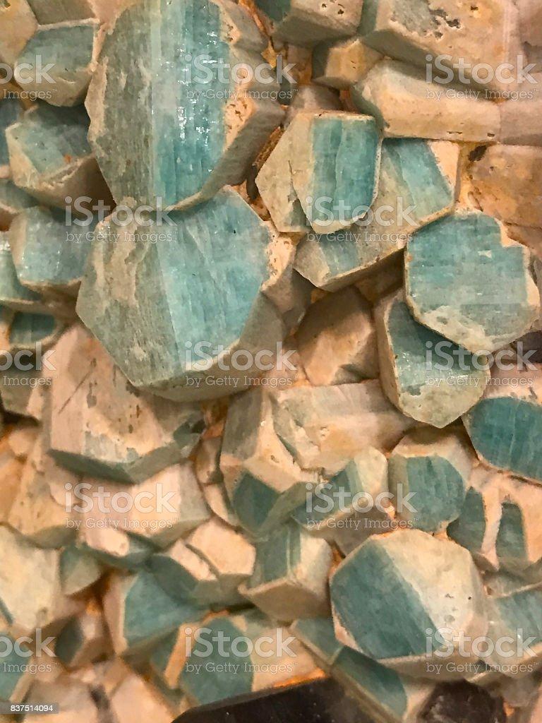 amazonite crystals stock photo
