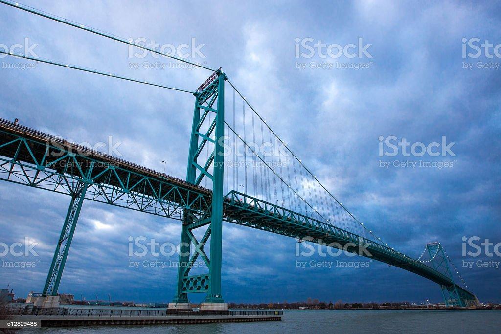 Ambassador Bridge at Blue Hour stock photo
