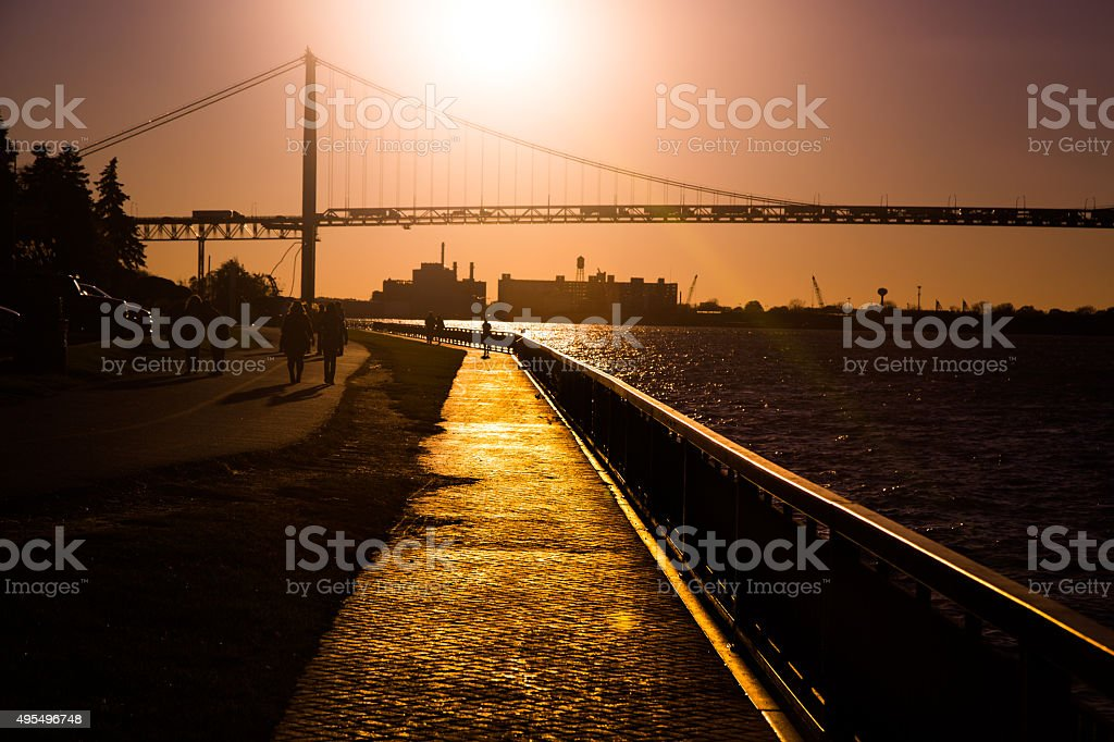 Ambassador Bridge at sunset stock photo
