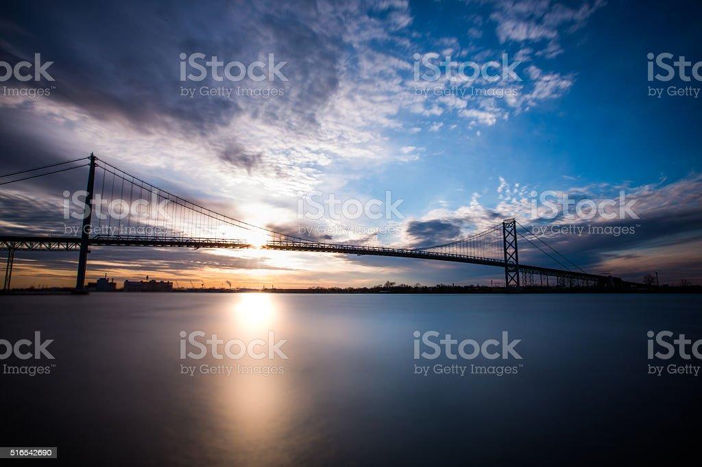 Ambassador Bridge - Clouds at Sunset stock photo