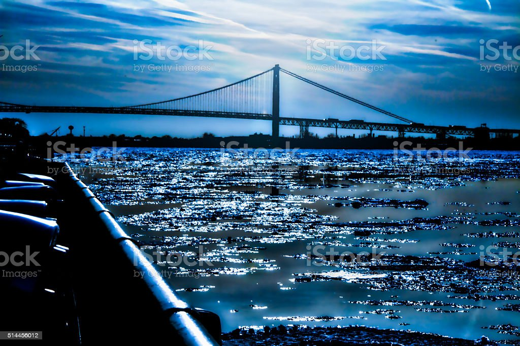 Ambassador Bridge - Ice Flows stock photo