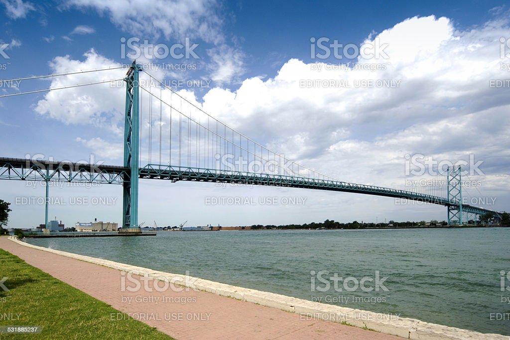Ambassador Bridge joining Canada to Detroit MI USA stock photo