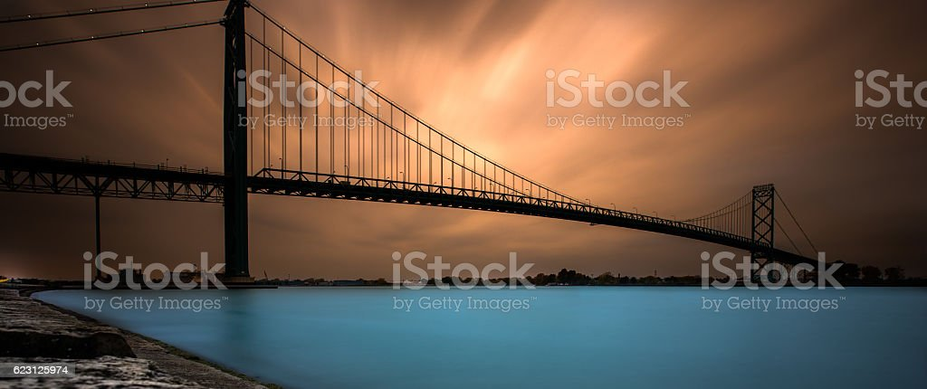 Ambassador Bridge - Long Exposure at Sunset stock photo