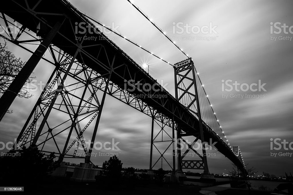Ambassador Bridge - Long Exposure in Black and White stock photo