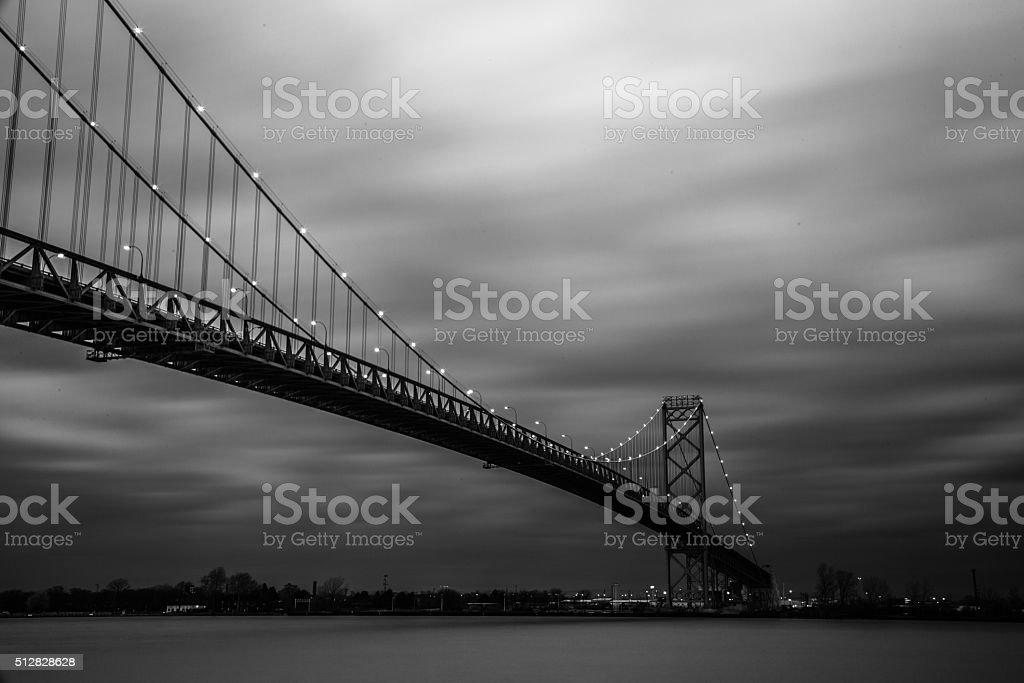 Ambassador Bridge - Long Exposure in Black & White stock photo