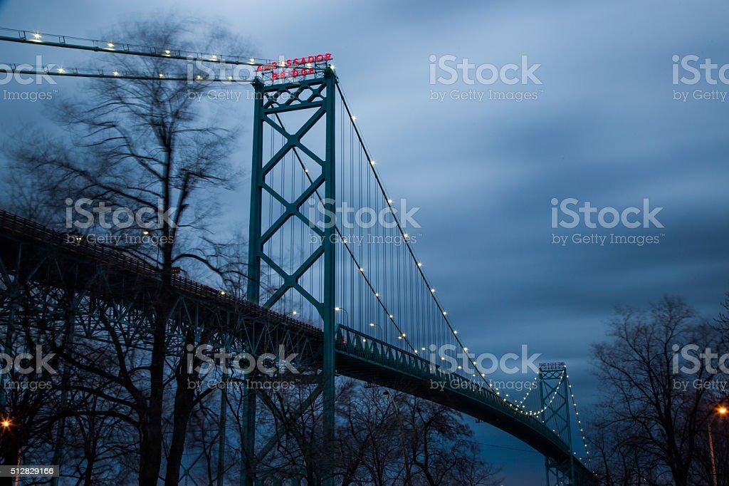 Ambassador Bridge - Long Exposure stock photo