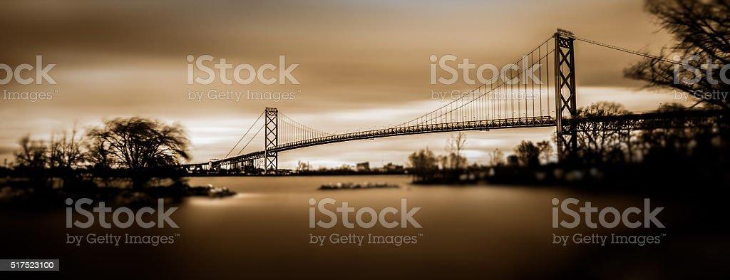 Ambassador Bridge over the Detroit River stock photo
