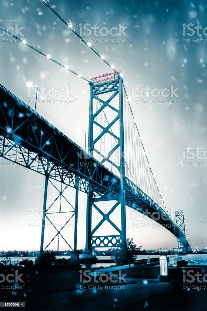 Ambassador Bridge - Snow stock photo