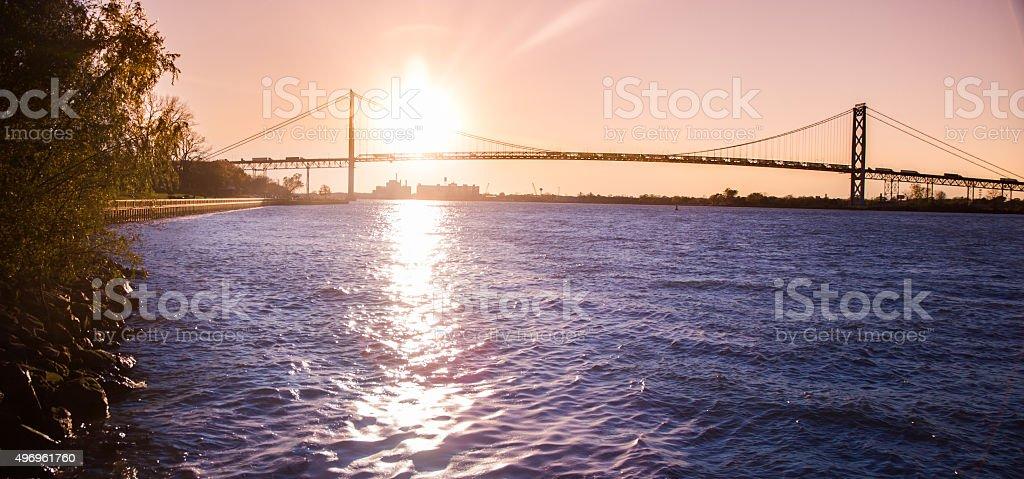Ambassador Bridge Sunset stock photo