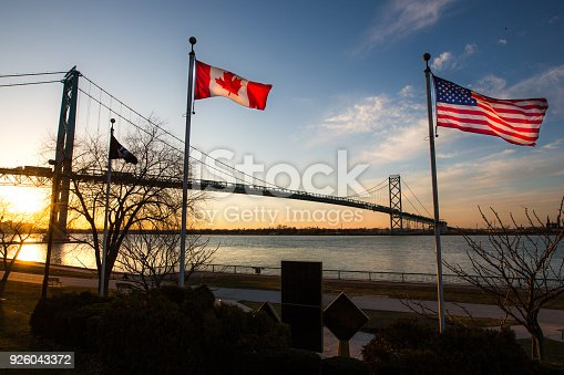 istock Ambassador Bridge with Flags 926043372