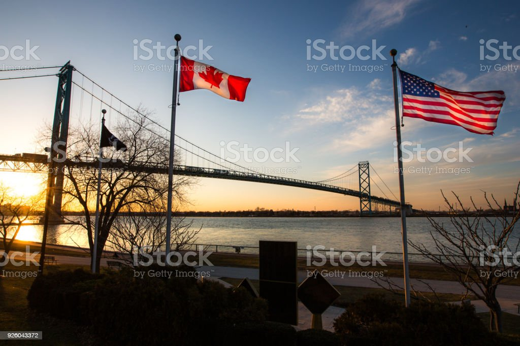 Ambassador Bridge with Flags stock photo