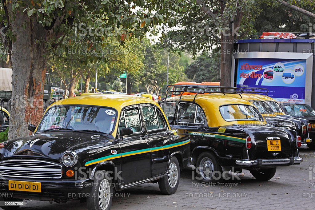 Ambassador taxi cabs at a stand in central Delhi, India stock photo