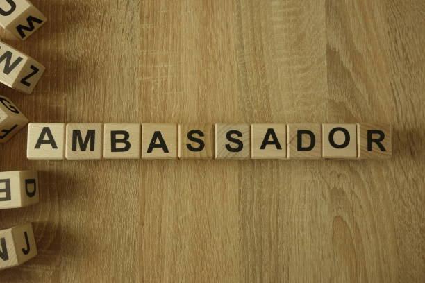Ambassador word from wooden blocks stock photo