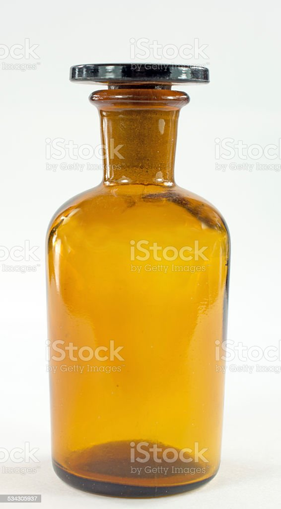 Amber Acid Laboratory Bottle Isolated stock photo