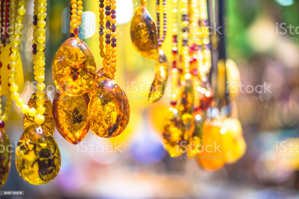 Amber Beaded Drop Necklaces in Beijing, China, Asia stock photo