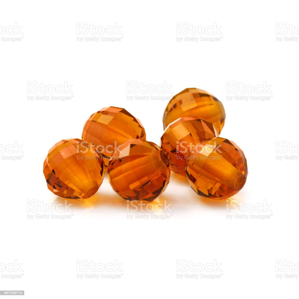 Amber Color Round Shaped Beads stock photo