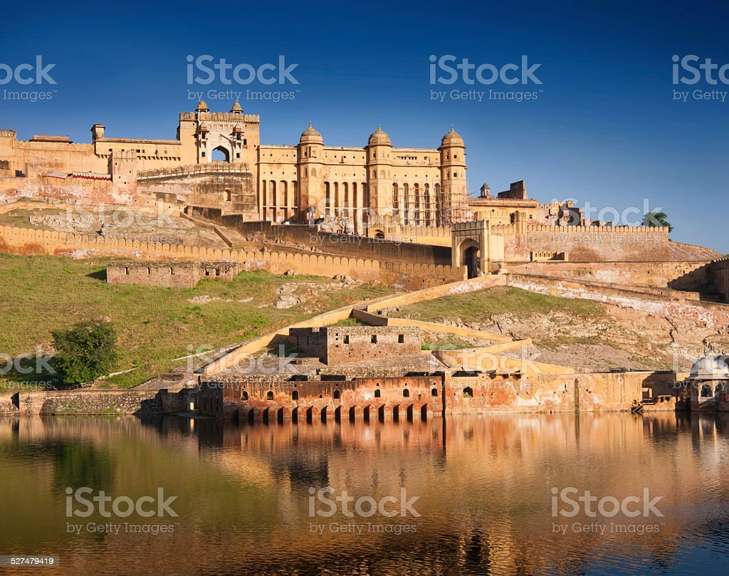 Amber Fort - famous Rajasthan landmark , located nearby Jaipur, India. stock photo