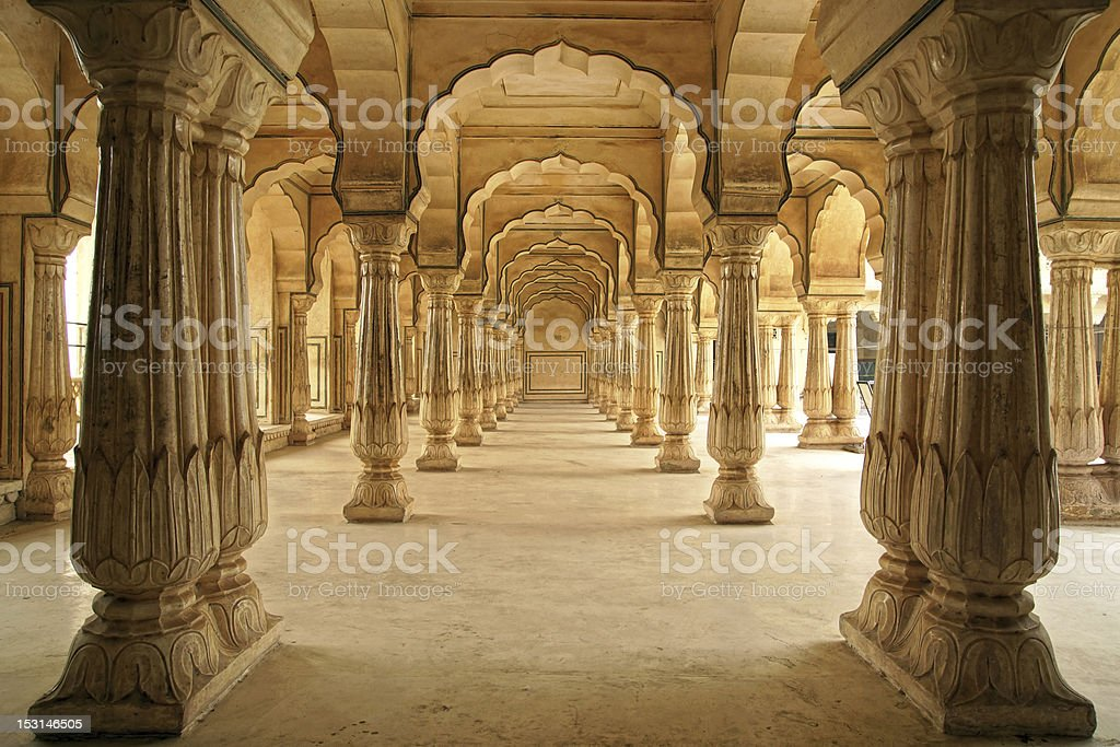 Amber Fort hall in Jaipur, India features columns royalty-free stock photo