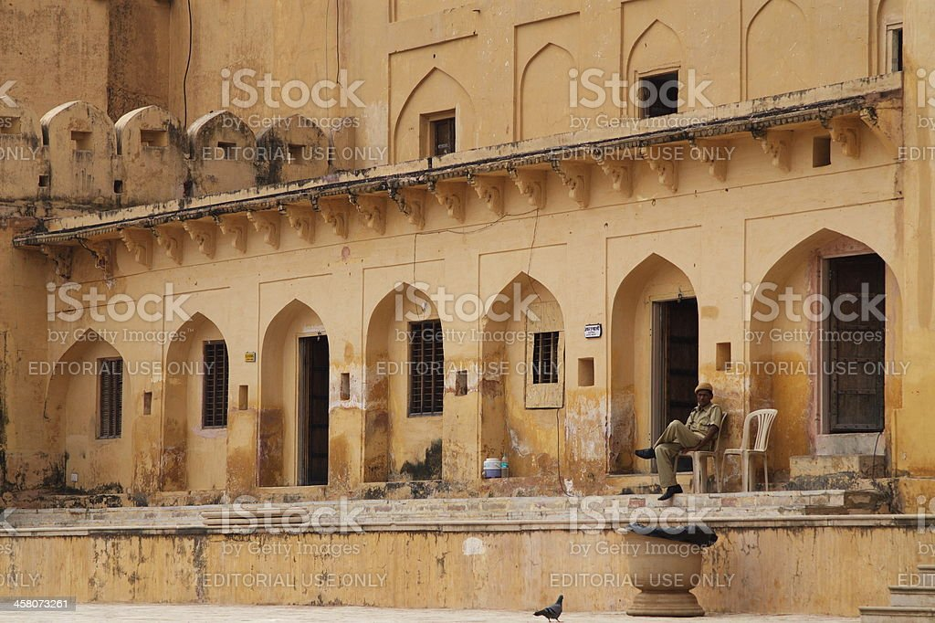 Amber Fort with watchman royalty-free stock photo