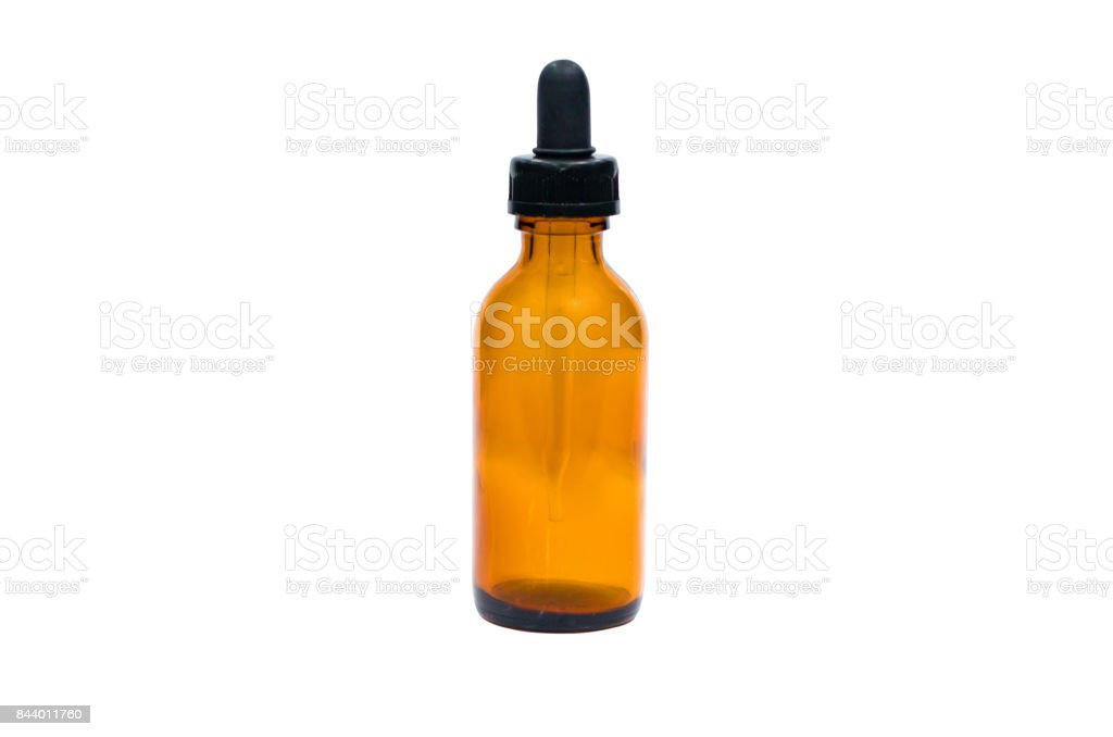 Amber glass dropping bottle with Dropper ,Scientific or Pharmacological instruments isolated on white background stock photo