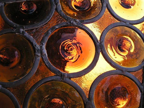 Amber Glass Window stock photo
