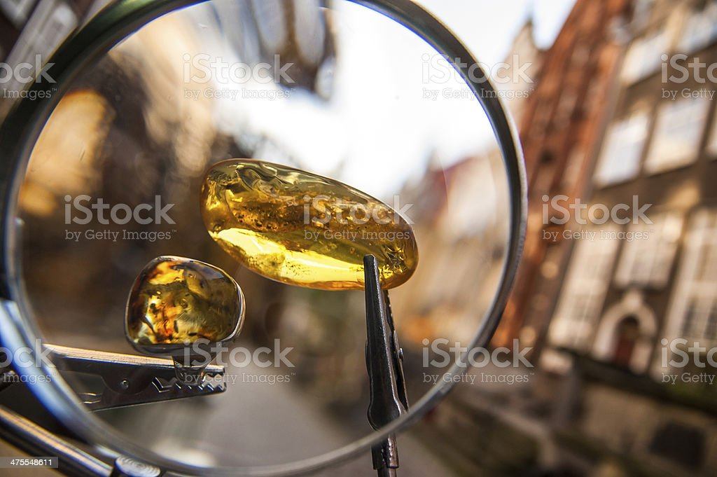 Amber jewellery sales in the streets of Gdansk stock photo