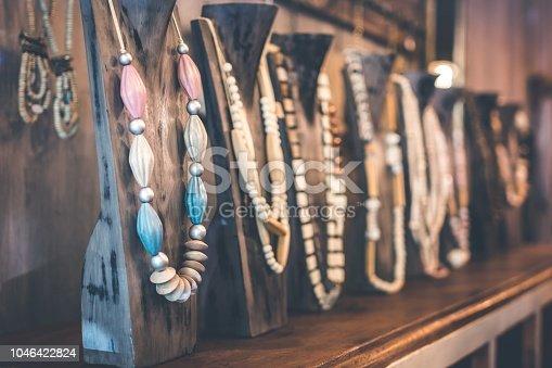 istock Amber jewelry in a jewelry store 1046422824