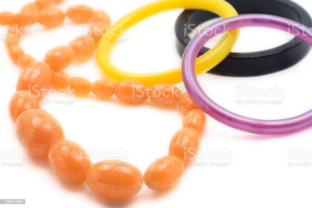 Amber necklace and bracelets royalty-free stock photo