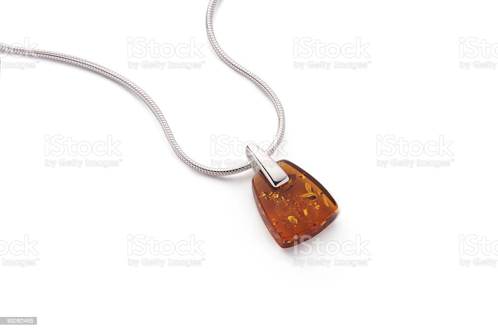 Amber Pendant Necklace royalty-free stock photo