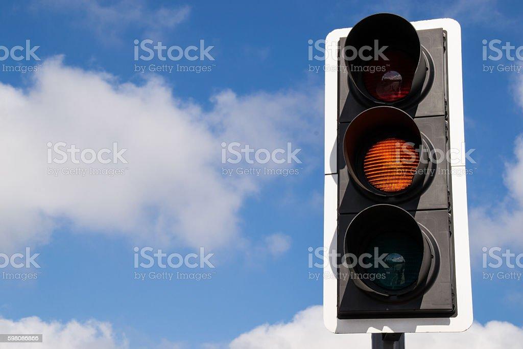 Amber street signal. stock photo