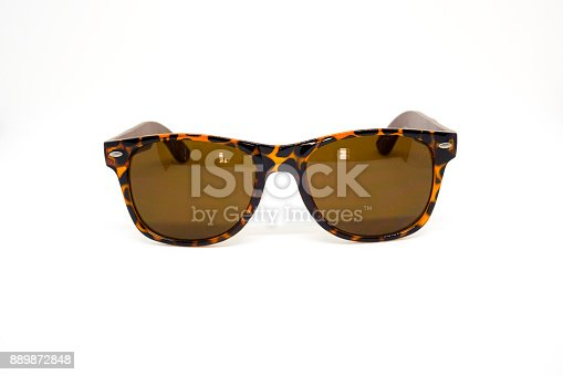 istock Amber Tortoise Sunglasses on White Background Front View 889872848