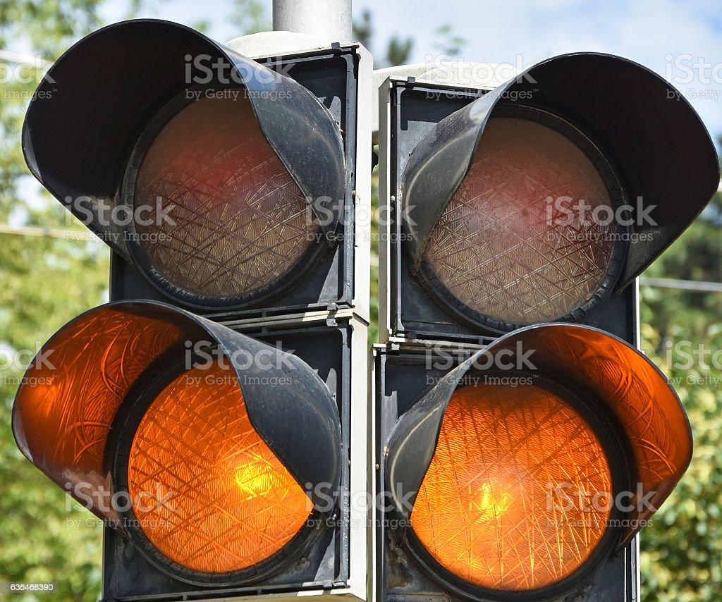 Amber traffic lights stock photo