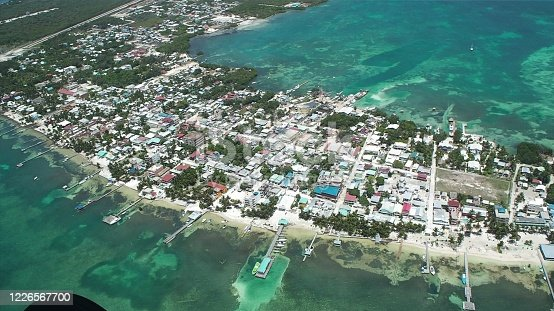 Ambergris caya aerial photo from plane window belize central america caribbean