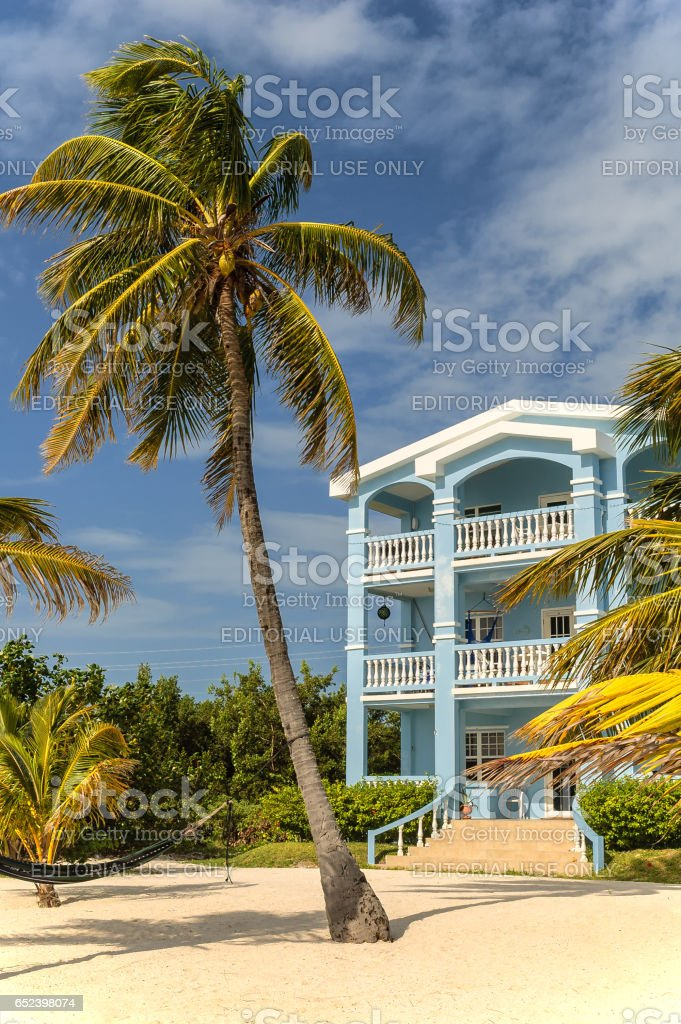 Ambergris Caye, Belize. February 25, 2010. Typical caribbean beach home offers lodging to tourists stock photo