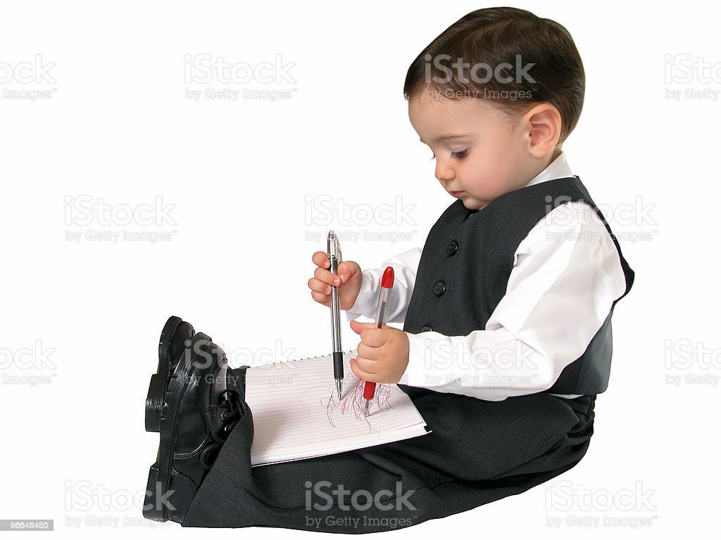 Ambidextrous Baby Boy in a Suit & Tie stock photo