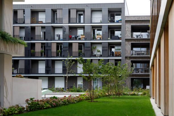 Umgebungsraum und moderne Häuser während der Bundesgartenschau 2019 BUGA Heilbronn – Foto