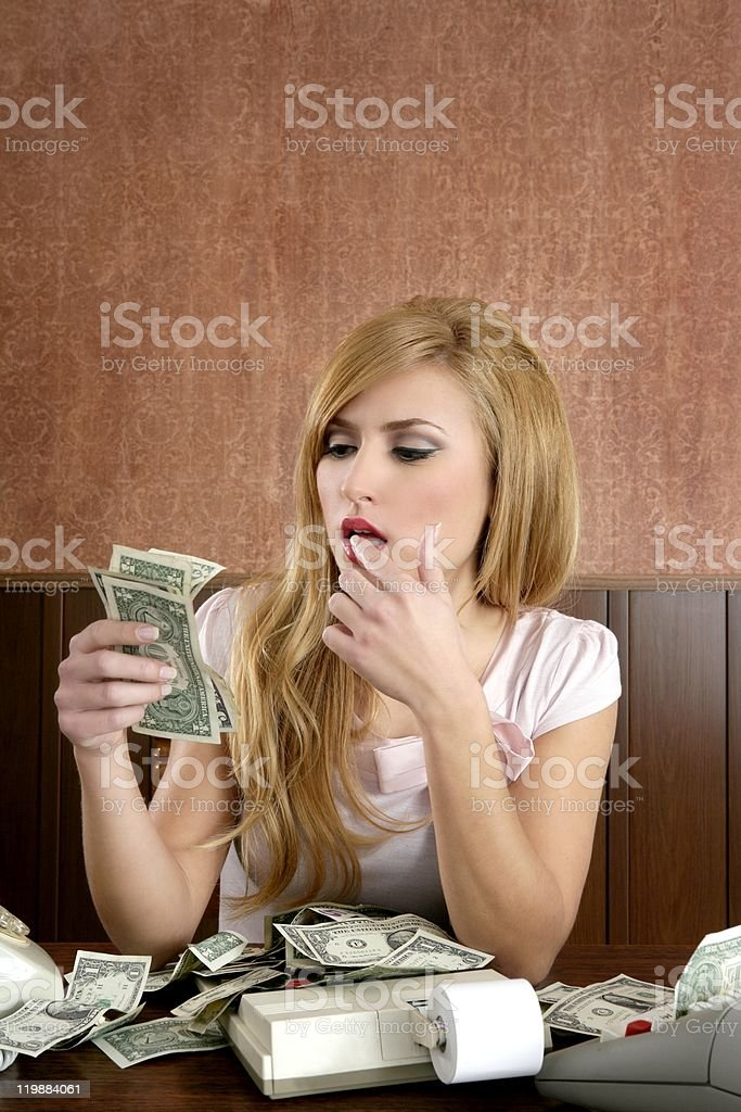 ambition retro woman lots of dollar money notes stock photo