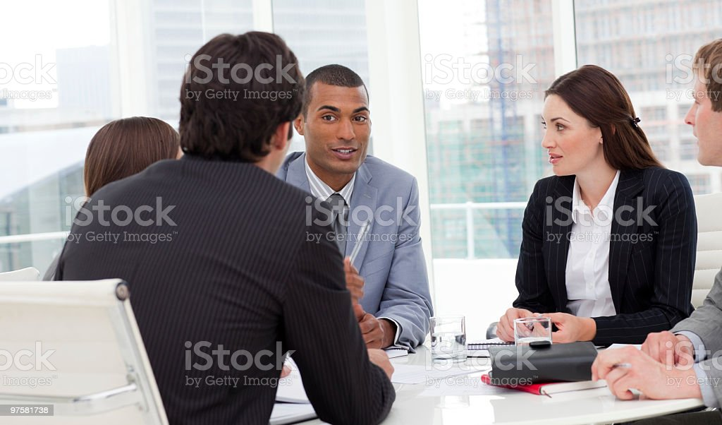 Ambitious business group having a meeting royalty-free stock photo